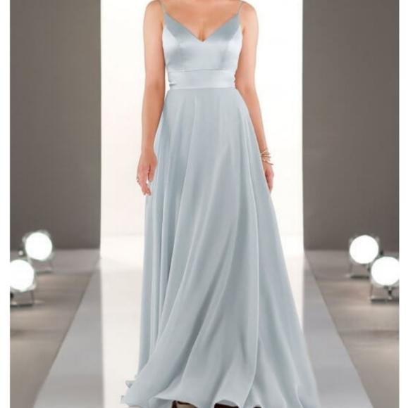 SORELLA VITA Dresses & Skirts - Mixed Fabric Bridesmaids Dress Arctic Blue
